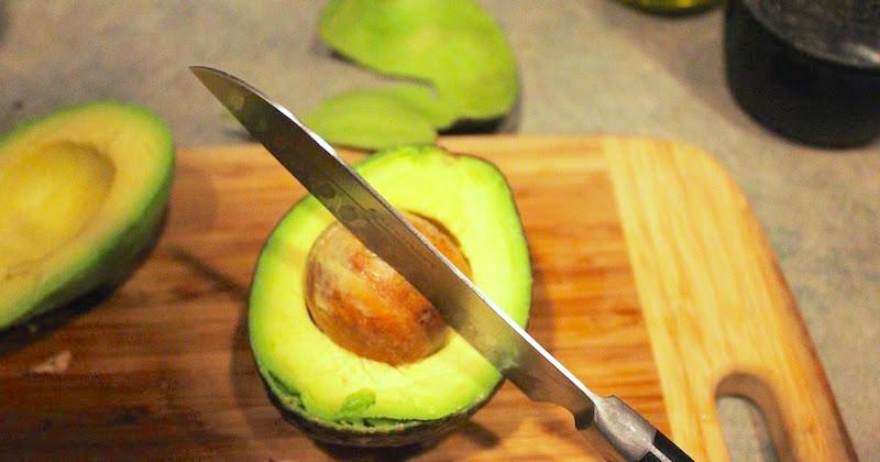 cutting an avocado