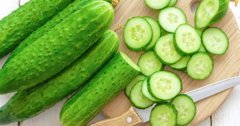 Fresh sliced cucumber