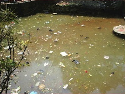 Toxin overloaded body analogy with stagnant, polluted water