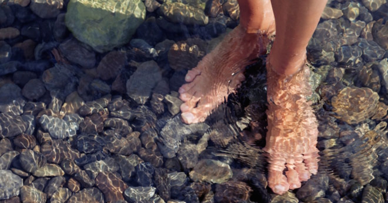 Barefoot in water