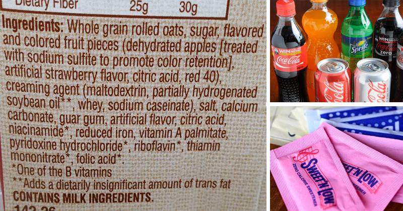 Labels showing chemicals in foods