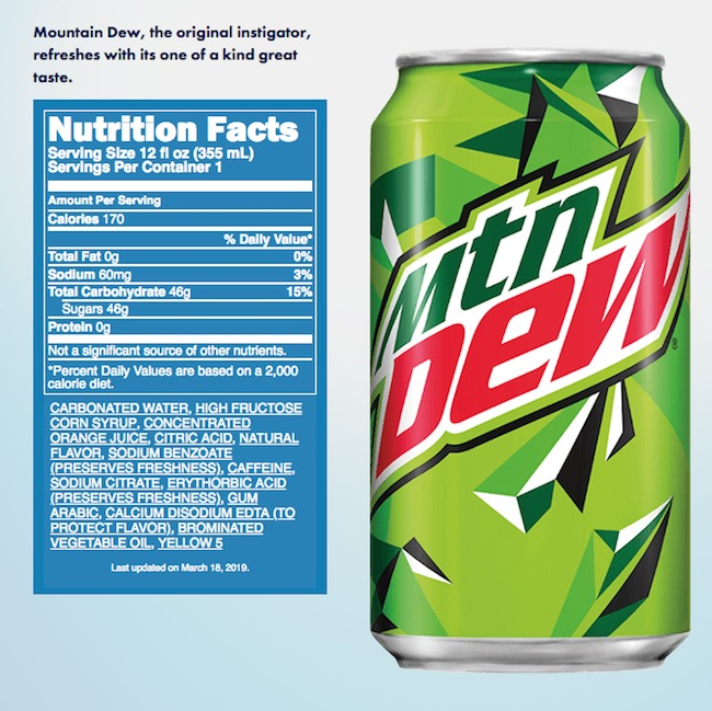 mountain dew ingredients label