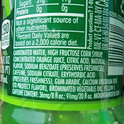 How Much Sugar Does Mountain Dew Have In A Can Sugar And