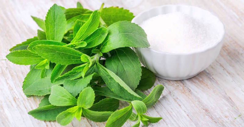 stevia leaves and sugar