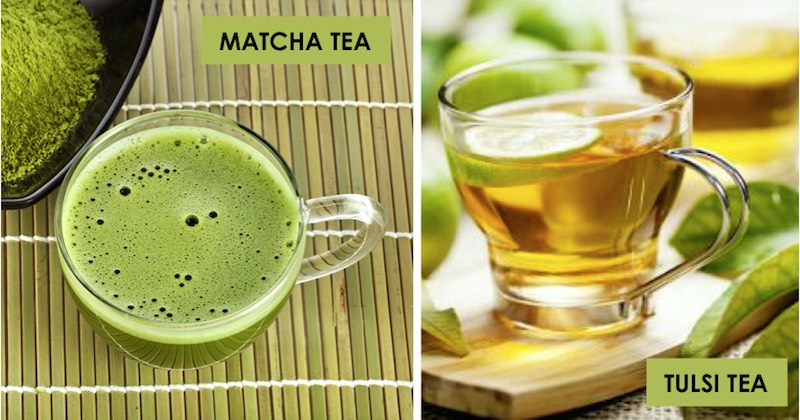 matcha and tulsi teas