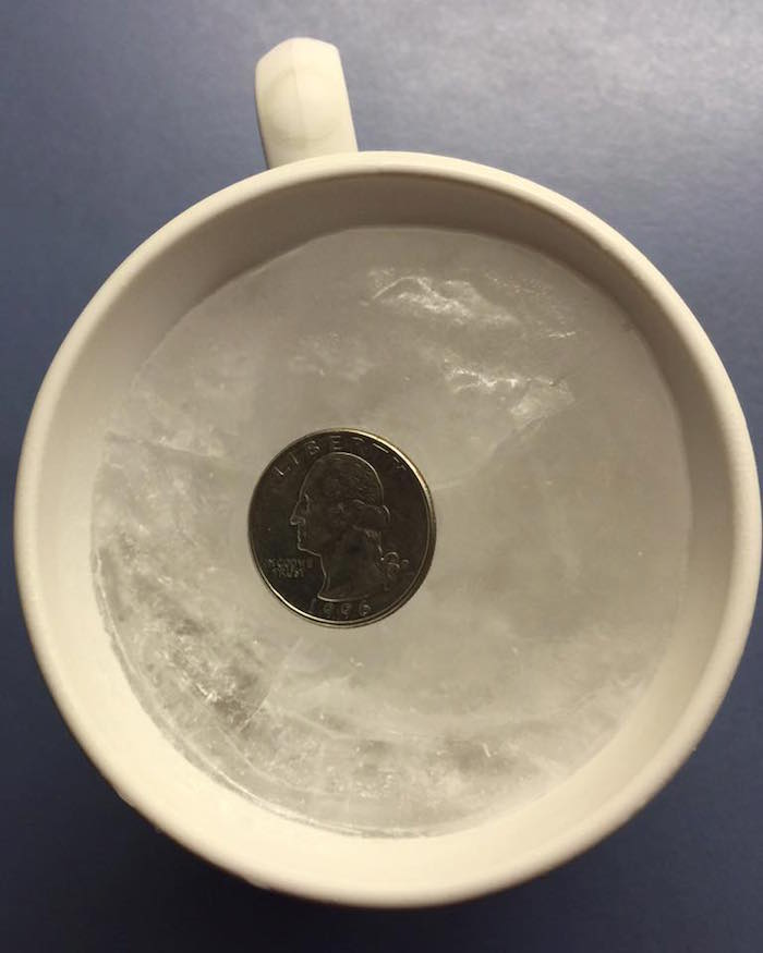 leave coin in freezer