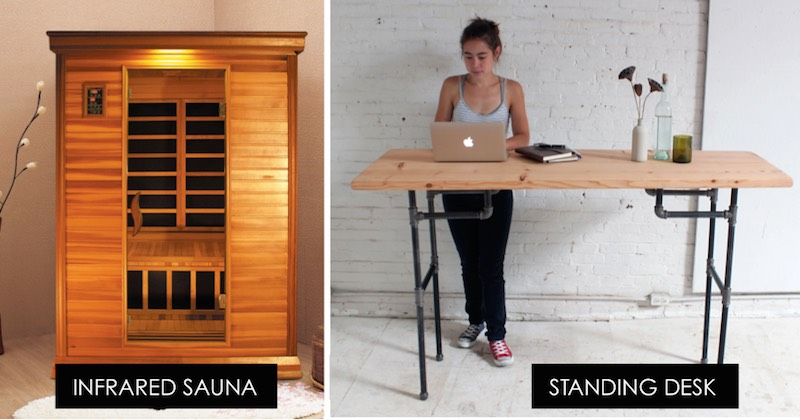 infrared sauna and standing desk