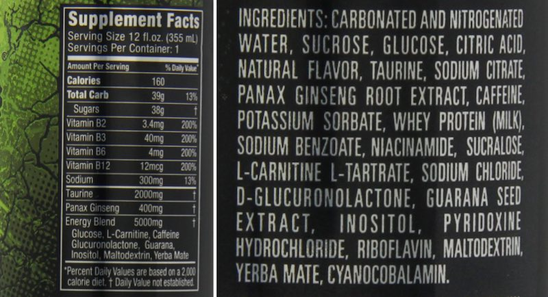monster energy drink label