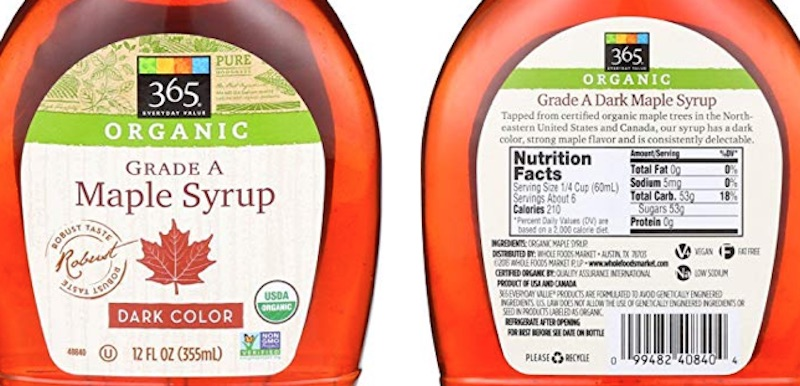 Whole Foods organic maple syrup