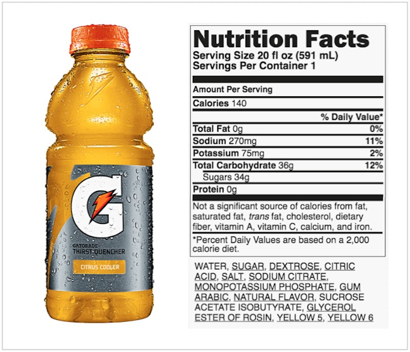 gatorade ingredients label
