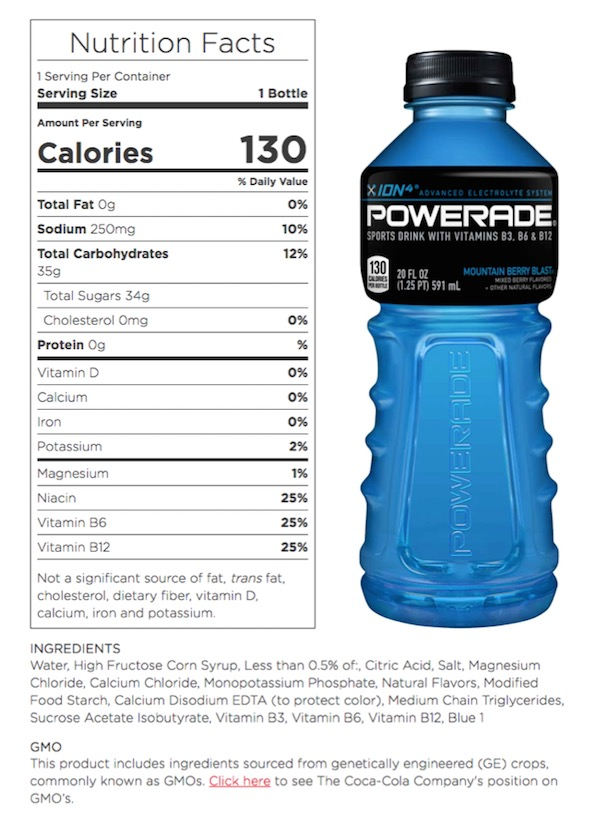 powerade ingredients label