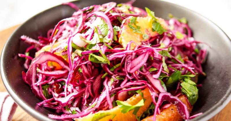 red cabbage-orange salad