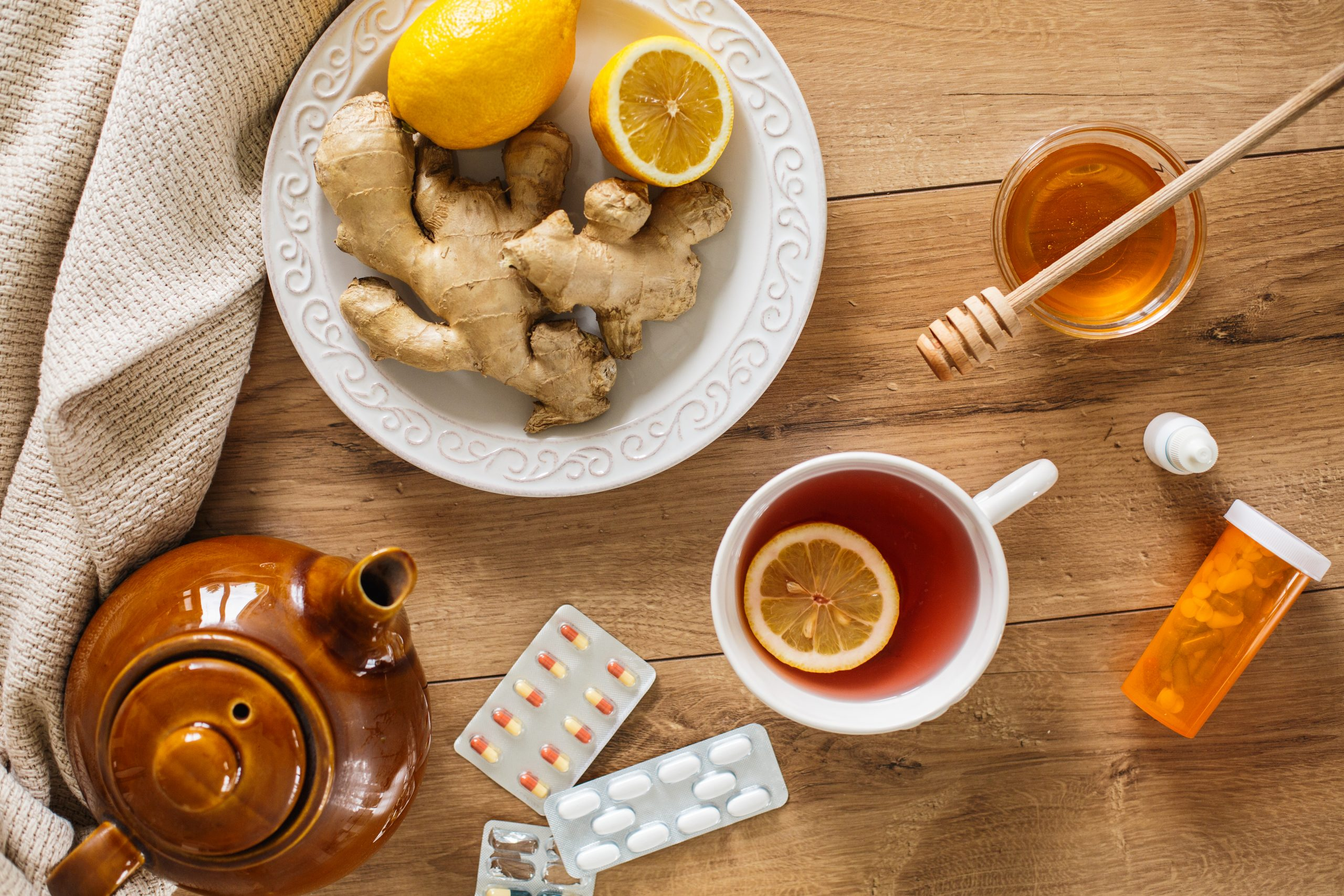 Lemon ginger honey immunity boosting juice