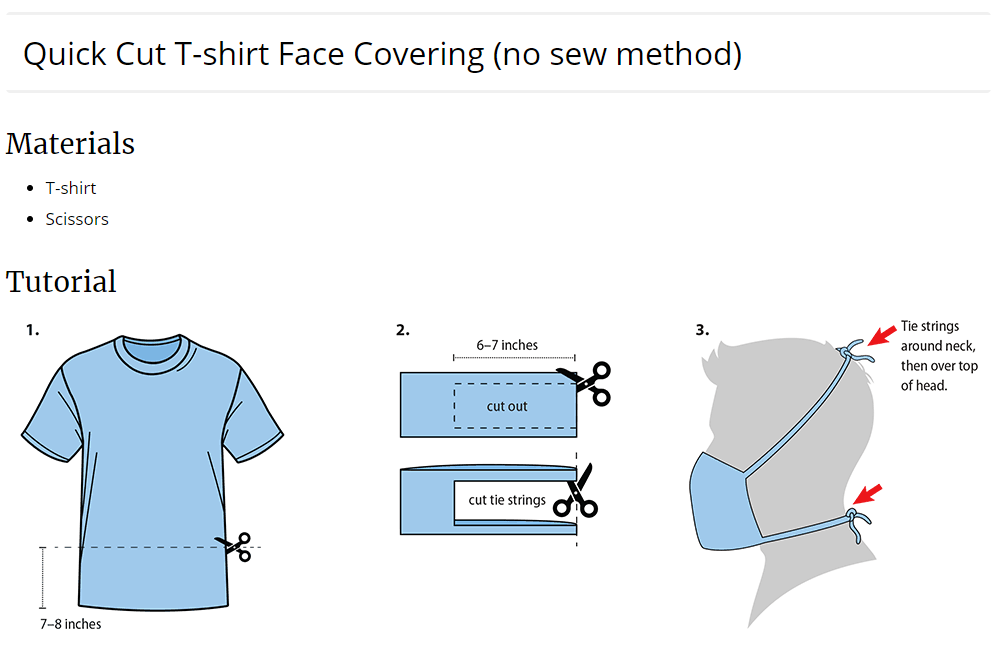 Quick Cut T-shirt face covering CDC tutorial