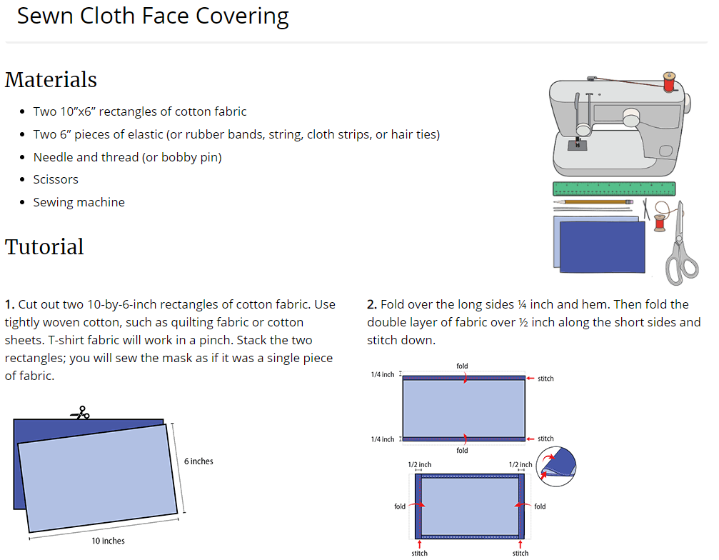 Sewn Cloth Face Covering CDC Tutorial